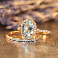 Aquamarine Engagement Ring Petite Diamond Wedding Ring Set in 14k Rose Gold, 9x7mm Oval Aquamarine Ring and Half Diamond Eternity Band