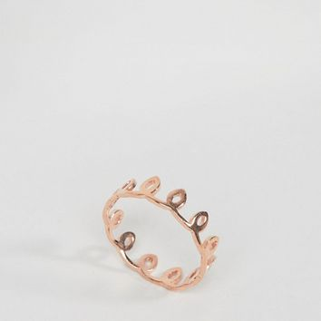 ASOS Rose Gold Plated Sterling Silver Swirl Crown Ring at asos.com