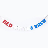 RED WHITE + BREW Glitter Banner Wall Hanging - 4th of July - Sparkly Red White & Blue - Party Decoration - More colors available