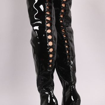 Anne Michelle Back Lattice Heeled Over-The-Knee Boots