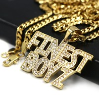 316L Stainless Blinged Out FINEST BOYZ in the Game Lettered Pendant w/ 4mm Miami Cuba Chain