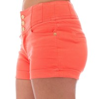 Classic Designs Juniors High Waisted 5 Pocket Stretch Cotton Short Shorts in Coral Size: 30