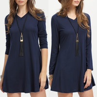 Long Sleeve Fall and Winter Stylish V-neck Patchwork One Piece Dress [8906174151]