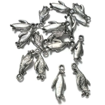 Penguin Charms, Christmas Holiday Antique Silver, Bird Jewelry DIY craft, Wholesale Findings, Bracelet Necklace, Earring,  -Proceeds Charity