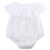 One-piece Newborn Baby Girl Kids Clothes Hollow out lace Off-shoulder Romper Jumpsuit Outfits