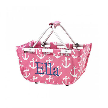 Mini Market Tote Pink Anchor Basket - Monogrammed Personalized Picnic Beach Pool
