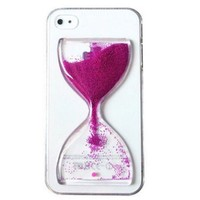 NEW Cute Fun Crystal Clear Hourglass Sand Hard Cover Phone Case for Apple iPhone 5 5S (rose)