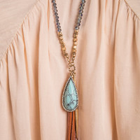 Tassel And Stone Necklace, Turquoise