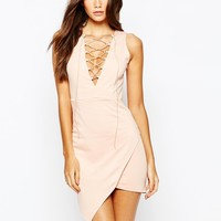 NaaNaa Lace Up Front Sleeveless Mini Dress With Wrap Skirt