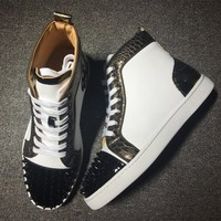 Christian Louboutin CL Lou Spikes Style #2180 Sneakers Fashion Shoes Best Deal Online