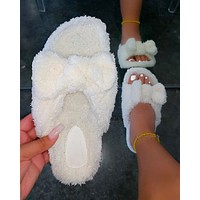 2020 autumn new ladies cute plush slippers