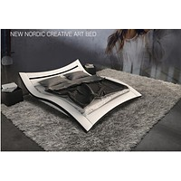 New Attractive Nordic Creative Art King & Queen Size Leather Bed
