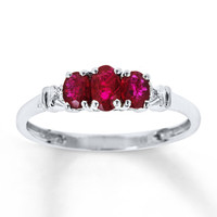 Natural Ruby Ring Diamond Accents 10K White Gold