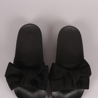 Wild Diva Lounge Suede Knotted Bow Slide Sandal