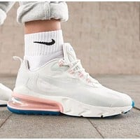 Bunchsun Nike Air Max 270 React Women Air Cushion Sport Running Shoes Sneakers White&Pink