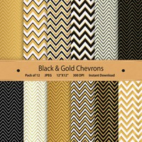 Digital paper Black and Gold Chevrons chevron pattern zigzag scrapbooking paper scrapbook kit instant download printable background white