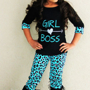 """Girls Boutique Outfit """"Girl Boss"""" Teal Leopard Pant Set Toddler Boutique Outfit"""