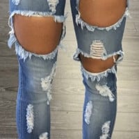 USA Machine Jeans New Womens Ripped Destroyed Distressed Fitted Low Rise Skinnys