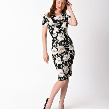 Unique Vintage 1960s Style Black & Ivory Floral Short Sleeve Stretch Mod Wiggle Dress