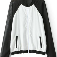 White Black Chiffon Long Sleeve Pockets Jacket - Sheinside.com