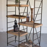 Iron Shelving Unit With 6 Adjustable Wooden Shelves