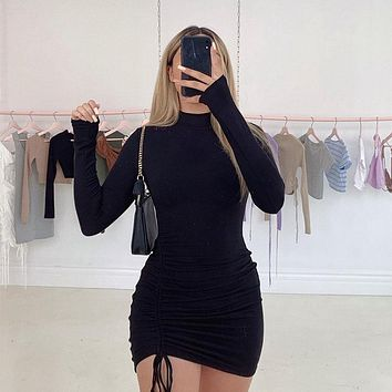 Long Sleeve Draped Tight Ruched Bodycon Mini Dress