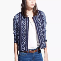 Blue Geometric Embroidered Knitted Sleeve Cardigan