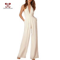 2017 New Spring Fashion Women Jumpsuit Sleeveless Hollow Out Backless Elegant Sexy Jumpsuit Slim Regular Long Jumpsuits SKU-276