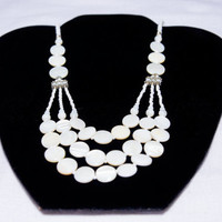 White Mother of Pearl Necklace--Handmade