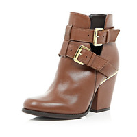 River Island Womens Brown leather cut out buckle ankle boots