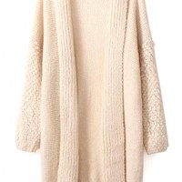 Chic Solid Long-Sleeve Long Knit Cardigan - OASAP.com