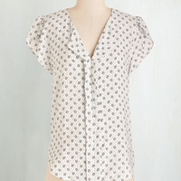 Mid-length Short Sleeves Scone Surprise Top by ModCloth