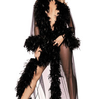 Vintage Burlesque Look Glamour Chandelle Feather Full Length Robe Lots of Colors