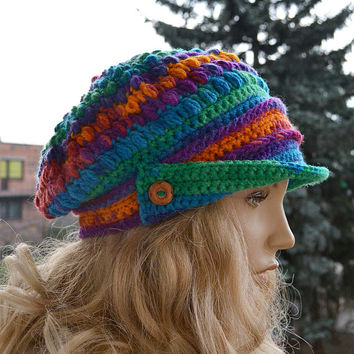 PEAKED  beanie Crocheted Cap Slouchy Winter Fashion , very warm, rainbow, women slouchy hat,Girls Hat,unique gifts aut