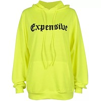 EXPENSIVE Ladies Lettered Hooded Sweatshirt