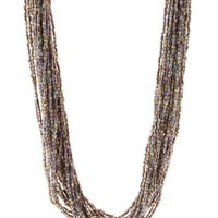 Multi Iridescent Beaded Statement Necklace by Charlotte Russe