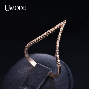 Cubic Zirconia Stacking Ring Gold Chevron Ring Cubic Zirconia V Ring Statement Ring Long Finger Ring Rose Gold Ring Micro Pave Ring