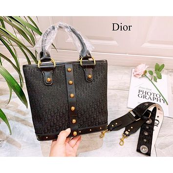 Dior Fashion Women Shopping Bag Leather Canvas Embroidery Satchel Crossbody Shoulder Bag Bucket Bag