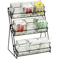 13W x 9.5D x 17.5H Iron Glass Jar Display 3 Tier Black