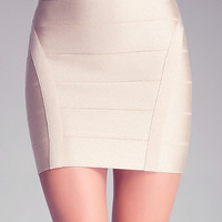 BANDED METALLIC MINI SKIRT - metallic gold bandage mini skirt