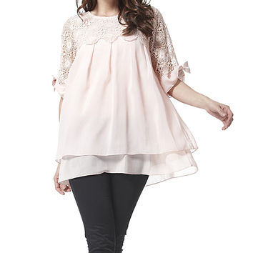 Simply Couture Pink Lace Pleated Swing Top | zulily