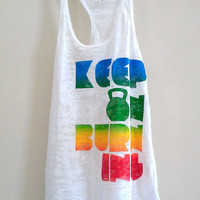 """X Large White Women's """"Keep On Burning"""" Crossfit/ Fitness / Workout Tank Top"""