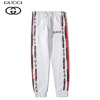 GUCCI Fashion new embroidery letter couple sports leisure pants White