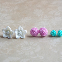 Tiny Rose Studs Lily Studs Dahlia Studs Set of Stud Earrings Floral Jewelry White Purple and Teal Flower Boutique