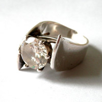 Mod 60's Modernistic Sterling Statement Ring with CZ Stone Israel Artist