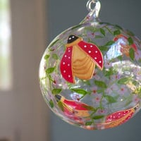 Ladybirds Glass Painting, Hand painted Decorative Hand Blown Glass Ball, Hanging Glass Ball, Red and Gold Sun Catcher