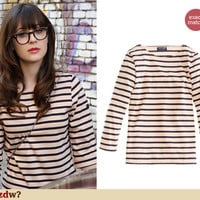 Cream and black striped longsleeve top on New Girl