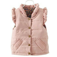 Solid Pink Sleeveless Outwear