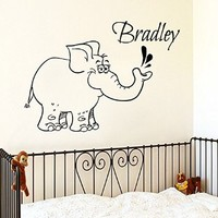 Wall Decor Vinyl Decal Sticker Custom Boy Personalized Name Animals Baby Elephant Kids Nursery Room Living Room Home Interior Design Kg857