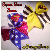 Super Hero Cheer Bows Superman/ Batman